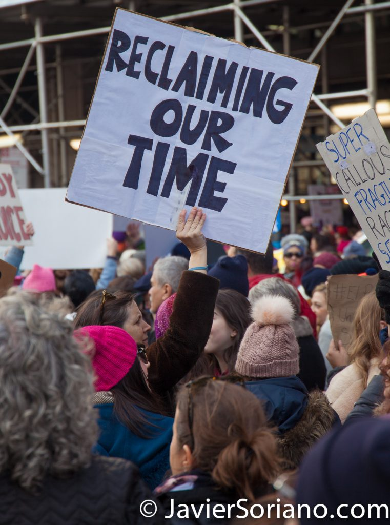 "1/20/2018. Manhattan, NYC - Women's March. ""Reclaiming our time""  Photo by Javier Soriano/www.JavierSoriano.com"