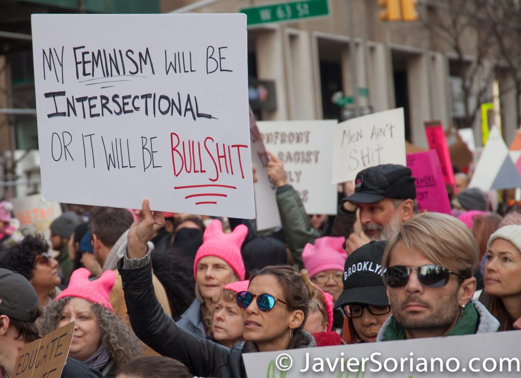 "1/20/2018. Manhattan, NYC - Women's March. ""My feminism will be intersectional or it will be bullshit""  Photo by Javier Soriano/www.JavierSoriano.com"