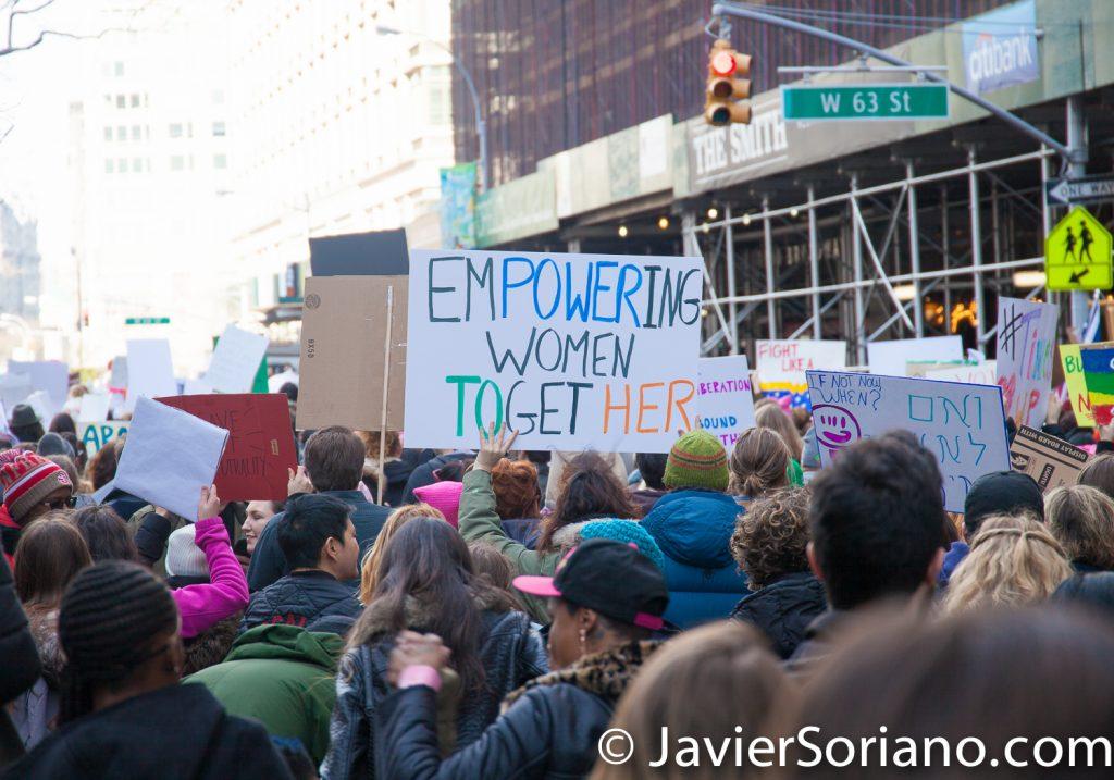 "1/20/2018. Manhattan, NYC - Women's March. ""Empowering women together""  Photo by Javier Soriano/www.JavierSoriano.com"