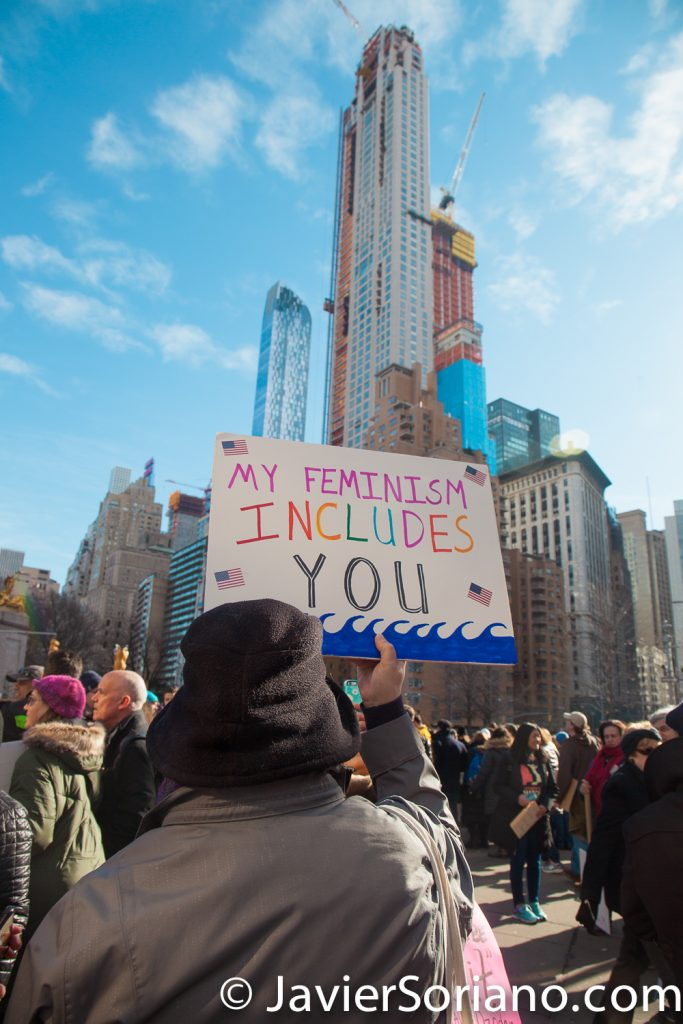 "1/20/2018. Manhattan, NYC - Women's March. Marching from Central Park West to Times Square. ""My feminism includes you"" Photo by Javier Soriano/www.JavierSoriano.com"
