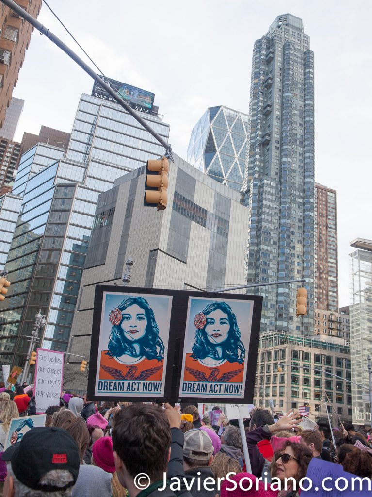 "1/20/2018. Manhattan, NYC - Women's March. Marching from Central Park West to Times Square. ""DREAM Act Now!""  Photo by Javier Soriano/www.JavierSoriano.com"