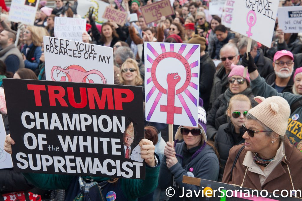"1/20/2018. Manhattan, NYC - Women's March. Marching from Central Park West to Times Square. ""Trump champion of white supremacist.""  Photo by Javier Soriano/www.JavierSoriano.com"