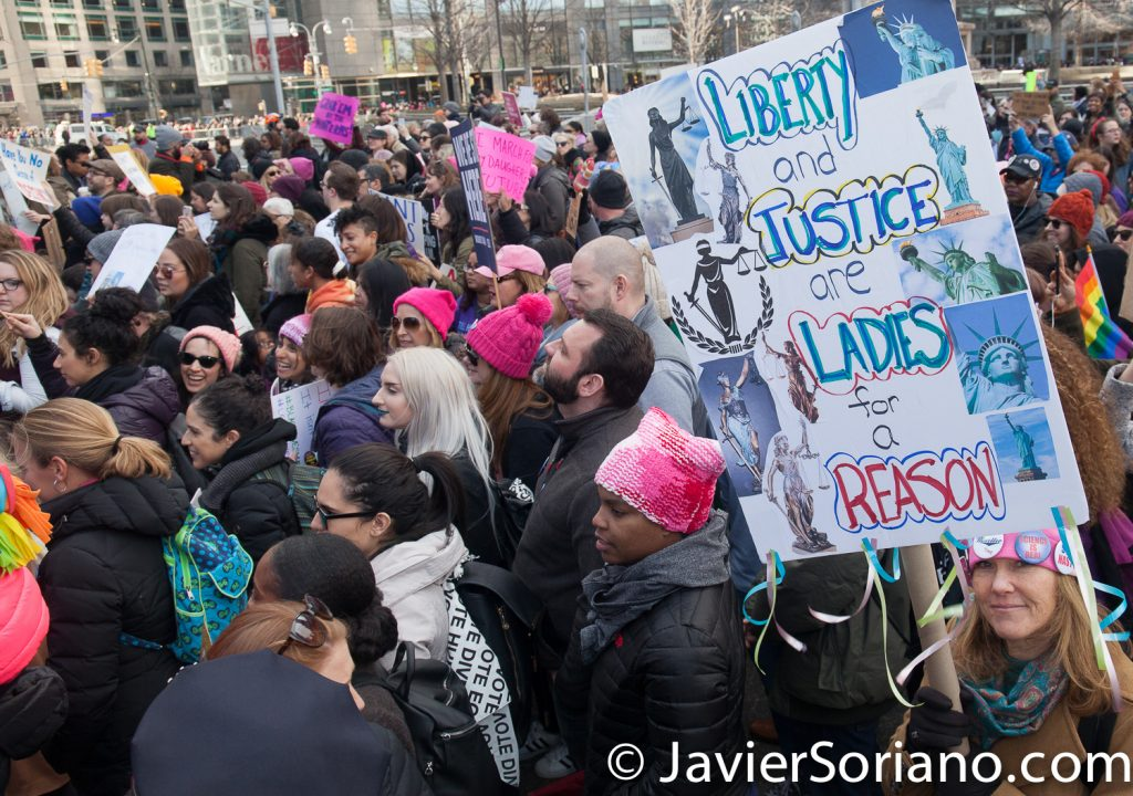"1/20/2018. Manhattan, NYC - Women's March. Marching from Central Park West to Times Square. ""Liberty and justice are ladies for a reason""  Photo by Javier Soriano/www.JavierSoriano.com"