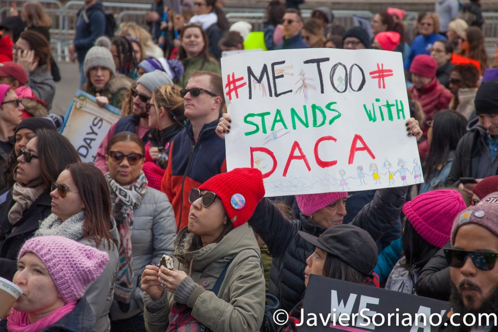 "1/20/2018. Manhattan, NYC - Women's March. Marching from Central Park West to Times Square. ""Me too"" Stand with DACA""   Photo by Javier Soriano/www.JavierSoriano.com"
