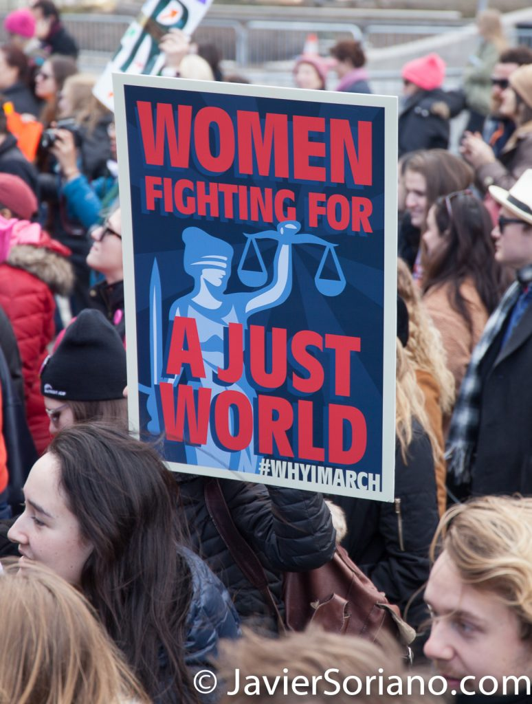 "1/20/2018. Manhattan, NYC - Women's March. Marching from Central Park West to Times Square. ""Women fighting for a just world""  Photo by Javier Soriano/www.JavierSoriano.com"