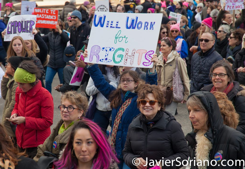 "1/20/2018. Manhattan, NYC - Women's March. Marching from Central Park West to Times Square. ""Will work for RIGHTS""  Photo by Javier Soriano/www.JavierSoriano.com"