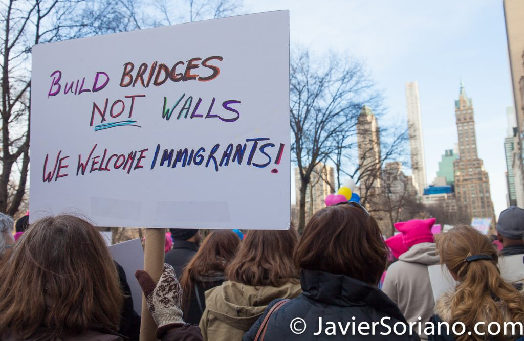 "1/20/2018. Manhattan, NYC - Women's March. Marching from Central Park West to Times Square. ""Build bridges, not walls. We welcome immigrants!""  Photo by Javier Soriano/www.JavierSoriano.com"