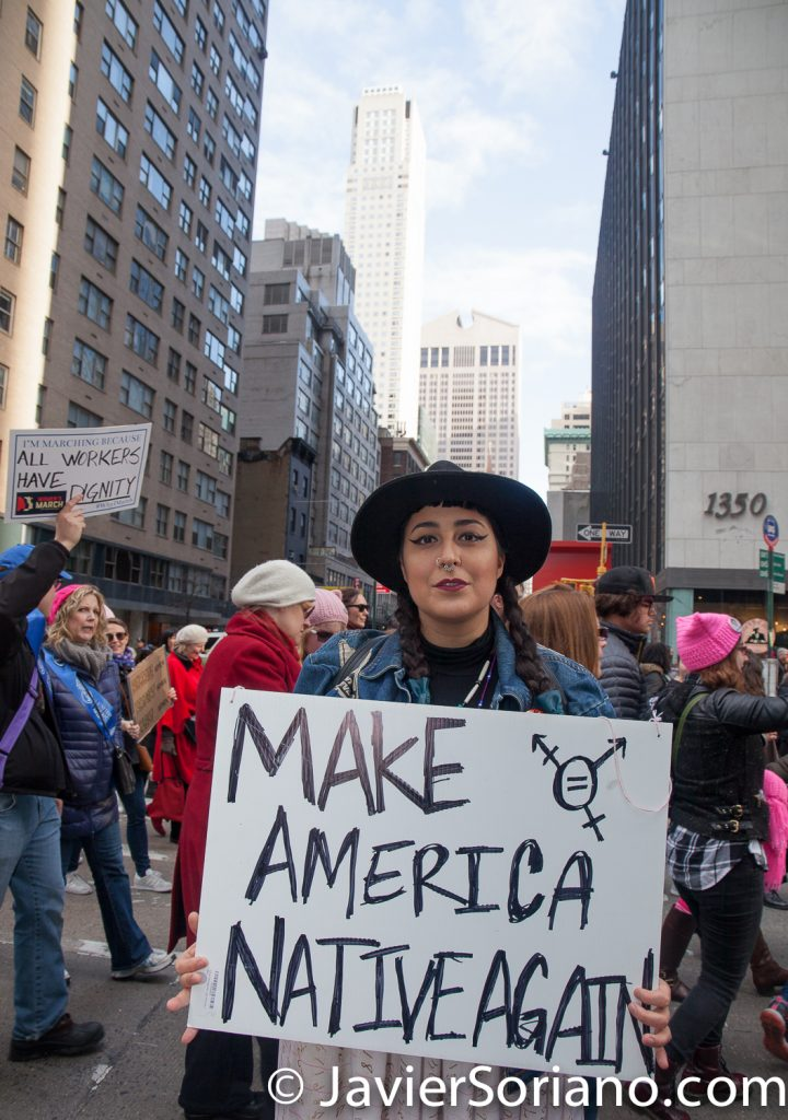 "1/20/2018. Manhattan, NYC - Women's March. Marching from Central Park West to Times Square. ""Make America Native Again"" Photo by Javier Soriano/www.JavierSoriano.com"