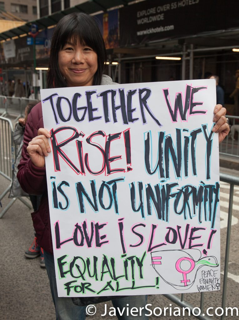 "1/20/2018. Manhattan, NYC - Women's March. Marching from Central Park West to Times Square. ""Together we rise! Unity is not uniformity. Love is love! Equality for all! Peace. Equality. Women"" Photo by Javier Soriano/www.JavierSoriano.com"