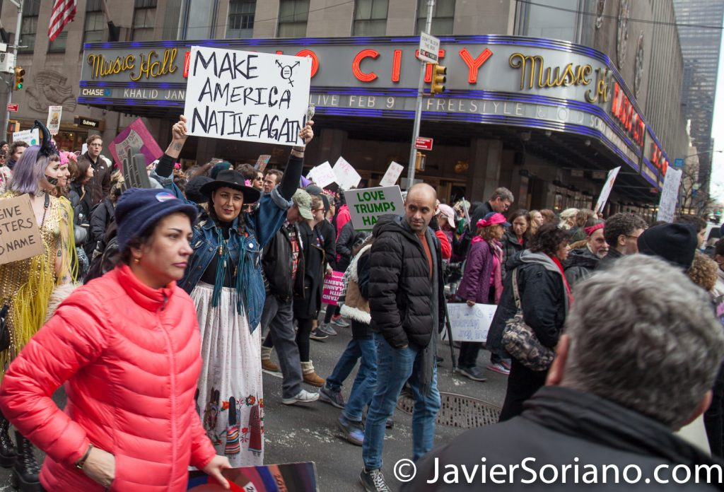 "1/20/2018. Manhattan, NYC - Women's March. Marching from Central Park West to Times Square. People marching in front of Radio City Music Hall. ""Make America Native Again""  Photo by Javier Soriano/www.JavierSoriano.com"