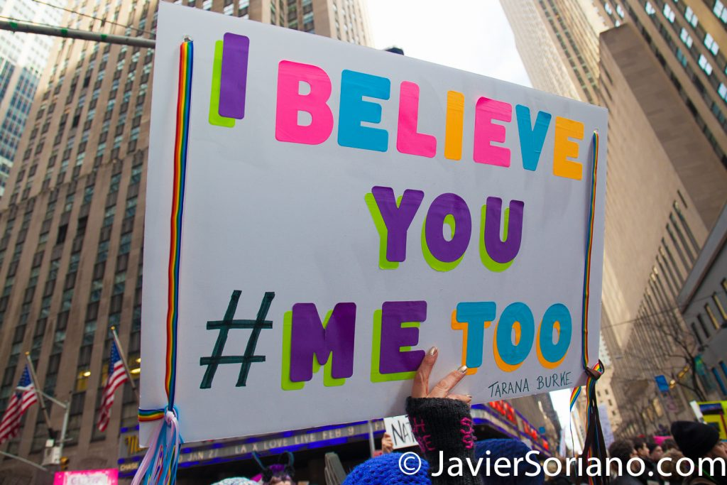"1/20/2018. Manhattan, NYC - Women's March. Arriving to Times Square. Thousands marched from Central Park West to Times Square. ""I believe you. #MeToo""  Photo by Javier Soriano/www.JavierSoriano.com"