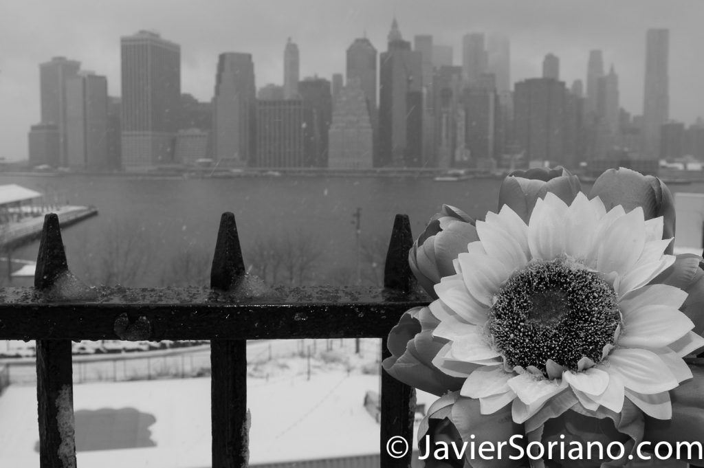 3/21/2018. Brooklyn Heights Promenade. Brooklyn, NYC - Winter Storm Toby.  21/3/2018. Brooklyn Heights Promenade. Ciudad de Nueva York - Tormenta de Nieve Toby.  Photo by Javier Soriano/www.JavierSoriano.com
