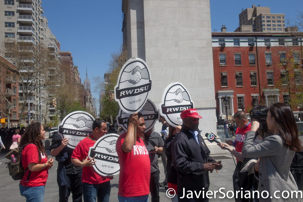 5/1/2018. New York City – International Workers' Day or May Day.  Members of the Retail, Wholesale and Department Store Union (RWDSU) at Washington Square Park.  Photo by Javier Soriano/www.JavierSoriano.com
