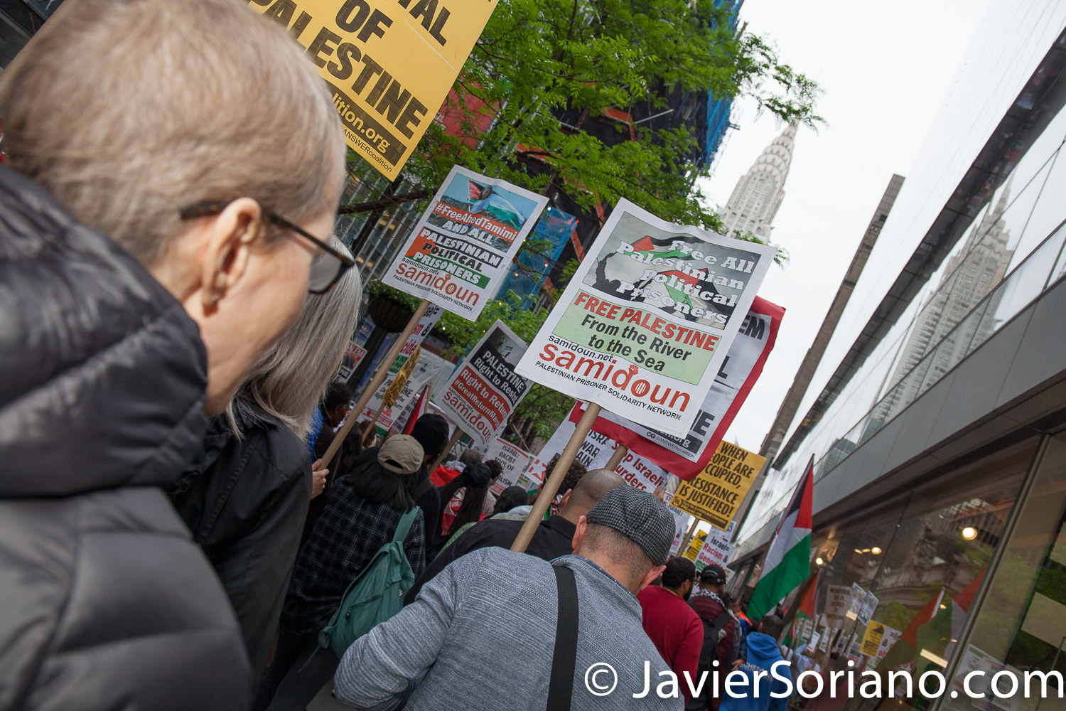 5/18/2018. New York City - Supporters of Palestine marching from Times Square to the Israeli consulate. Photo by Javier Soriano/www.JavierSoriano.com