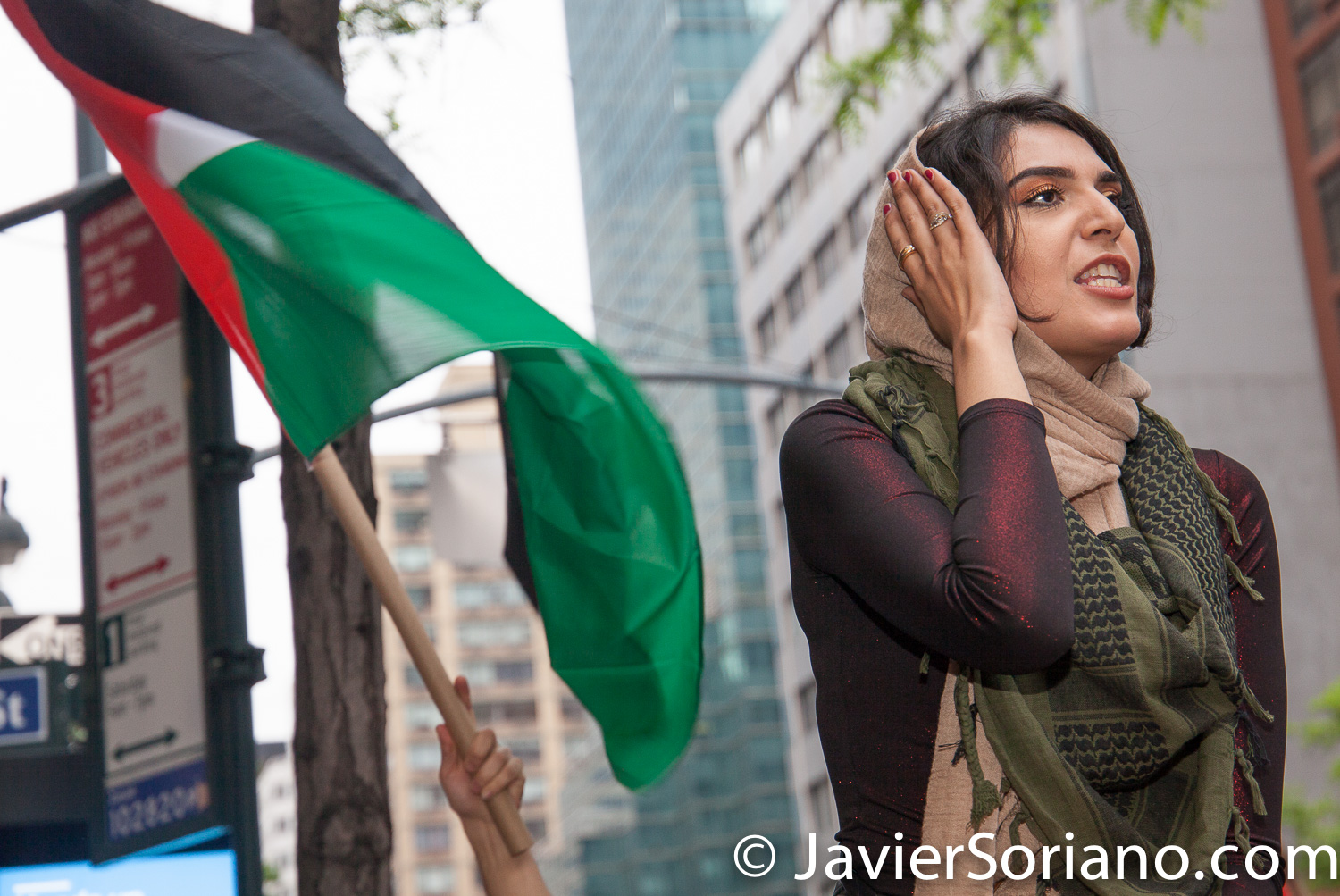 5/18/2018. New York City - Supporters of Palestine in front of the Israeli consulate. Photo by Javier Soriano/www.JavierSoriano.com