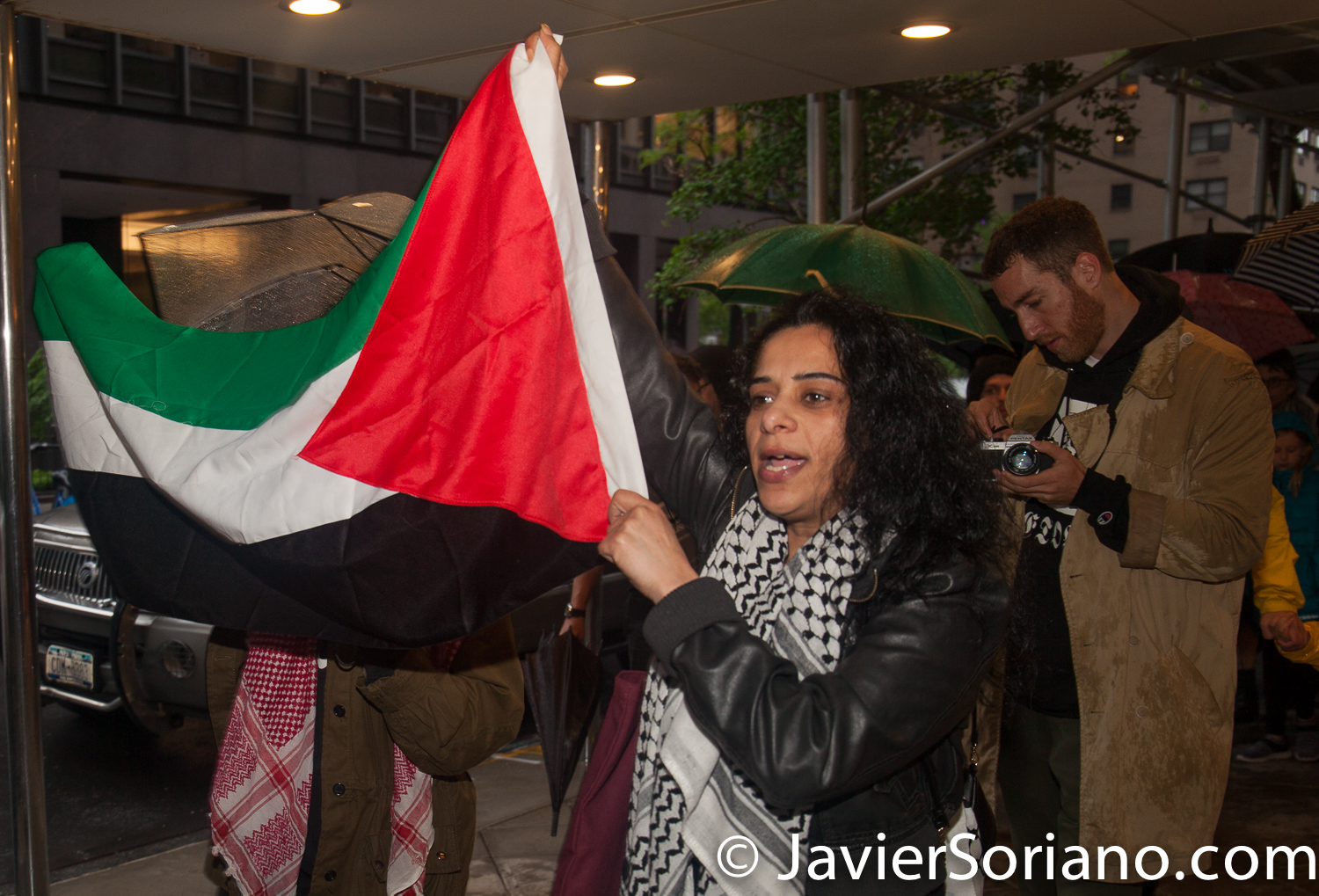 """5/16/2018. Manhattan, New York City - New Yorkers support Palestine. """"Activists marching with the Palestinian flag"""" Photo by Javier Soriano/www.JavierSoriano.com"""