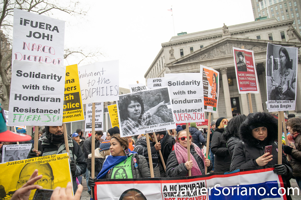 Foley Square, Manhattan. New York City. The third annual Women's March was on Saturday, January 19, 2019. Hundreds of people attended the rally at Foley Square Park in suppport of women's rights. People from Honduras and Mexico in support of Margarita Murillo, Berta Caceres and other women murdered in Honduras. Photo by Javier Soriano/JavierSoriano.com