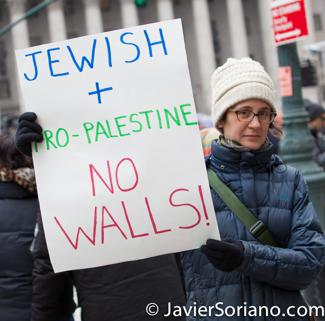 Foley Square, Manhattan. New York City. The third annual Women's March was on Saturday, January 19, 2019. Hundreds of people attended the rally at Foley Square Park in suppport of women's rights. This woman is Jewish and she is pro-Palestine. She does not want walls. Photo by Javier Soriano/JavierSoriano.com