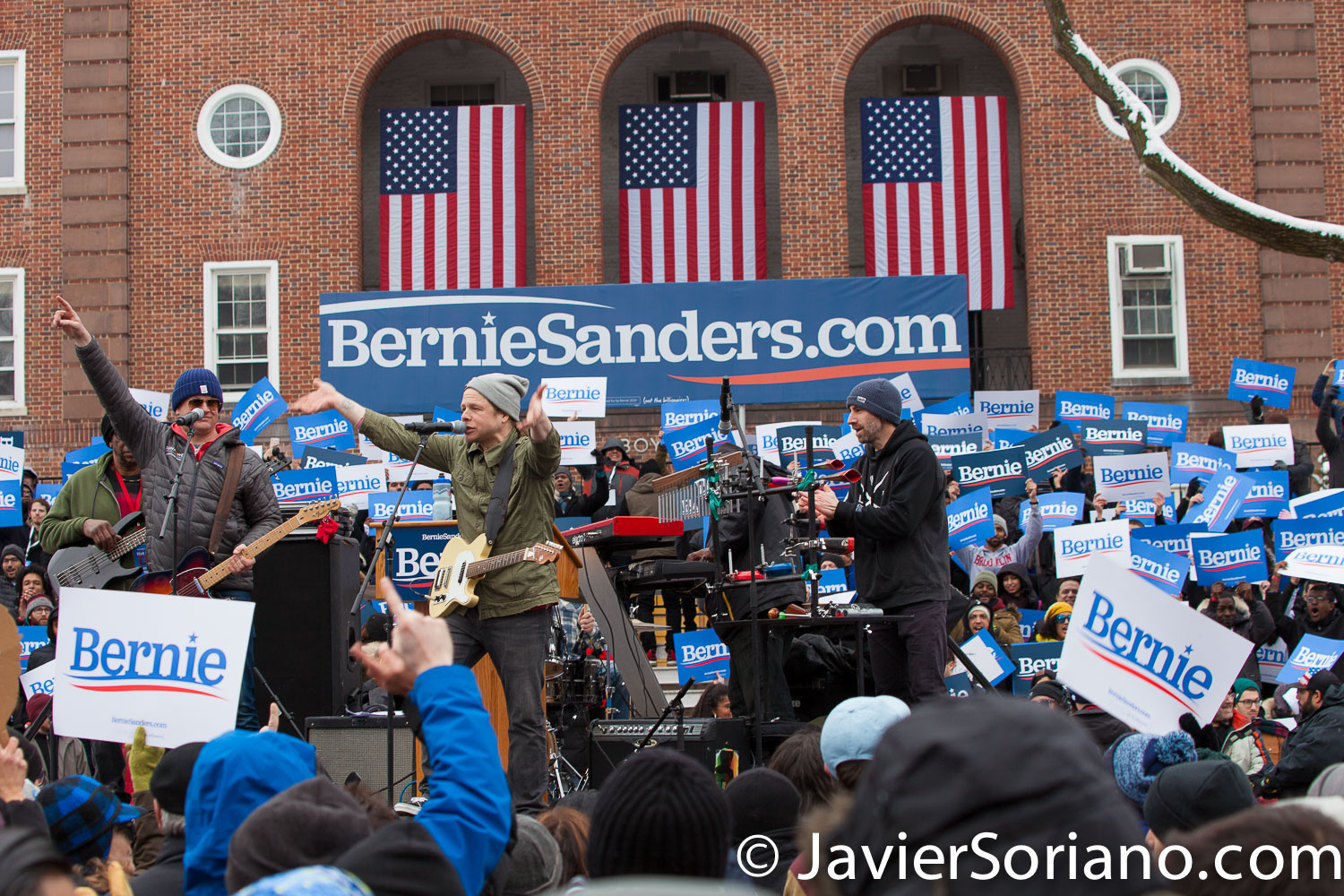 Saturday, March 2, 2019. Brooklyn College. Brooklyn, New York City. A group of men singing and people waiting for U.S. Senator and presidential candidate Bernie Sanders. This is the first event of his 2020 presidential campaign. Photo by Javier Soriano/www.JavierSoriano.com