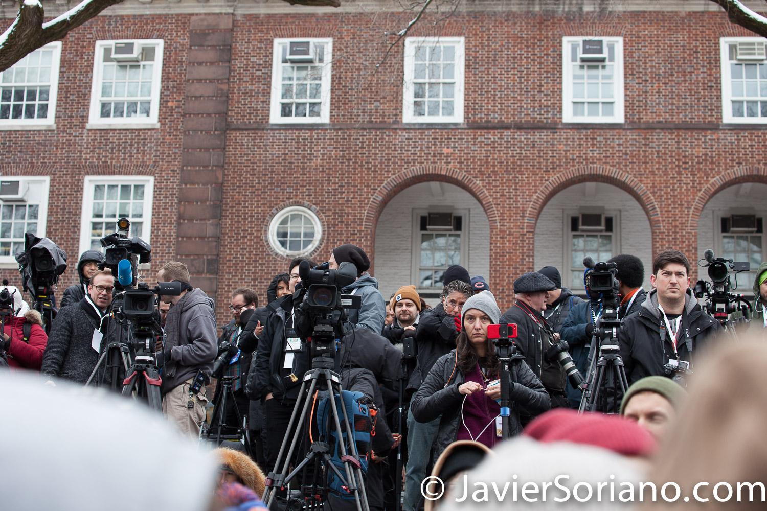 Saturday, March 2, 2019. Brooklyn College. Brooklyn, New York City.  Media waiting for U.S. Senator and presidential candidate Bernie Sanders.  This is the first event of his 2020 presidential campaign.  It was very cold, but more than 10 thousand people attended the event. Photo by Javier Soriano/www.JavierSoriano.com