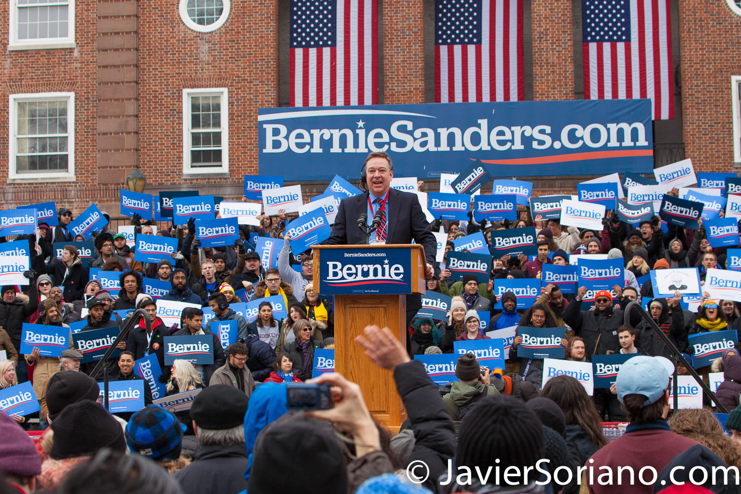 Saturday, March 2, 2019. Brooklyn College. Brooklyn, New York City. This man is making sure that the microphones are working. People waiting for U.S. Senator and presidential candidate Bernie Sanders. This is the first event of his 2020 presidential campaign. Photo by Javier Soriano/www.JavierSoriano.com