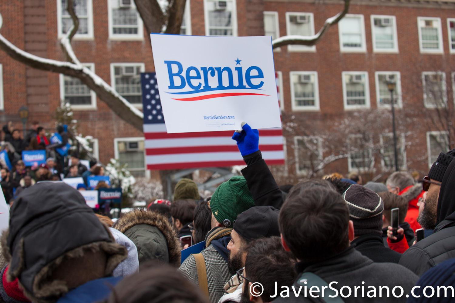 Saturday, March 2, 2019. Brooklyn College. Brooklyn, New York City. People waiting for U.S. Senator and presidential candidate Bernie Sanders. This is the first event of his 2020 presidential campaign. Photo by Javier Soriano/www.JavierSoriano.com