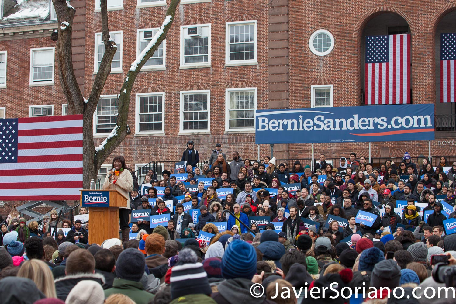 Saturday, March 2, 2019. Brooklyn College. Brooklyn, New York City. Aquila Etienne, Brooklyn College class of 2017, singing the National Anthem. Although, it was very cold, but more than 10 thousand supporters of U.S. Senator and presidential candidate Bernie Sanders attended the rally. This was the first event of his 2020 presidential campaign.  Photo by Javier Soriano/www.JavierSoriano.com