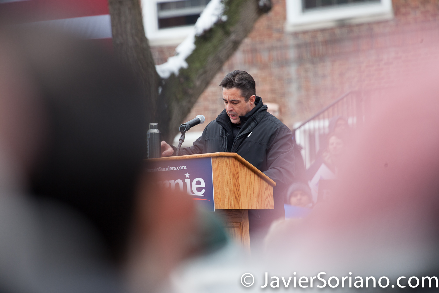 Saturday, March 2, 2019. Brooklyn College. Brooklyn, New York City. UE Local 506 President Scott Slawson speaks to the more than 10 thousand supporters of U.S. Senator and presidential candidate Bernie Sanders. This was the first event of his 2020 presidential campaign. Although it was cold, people were happy to be there. Photo by Javier Soriano/www.JavierSoriano.com