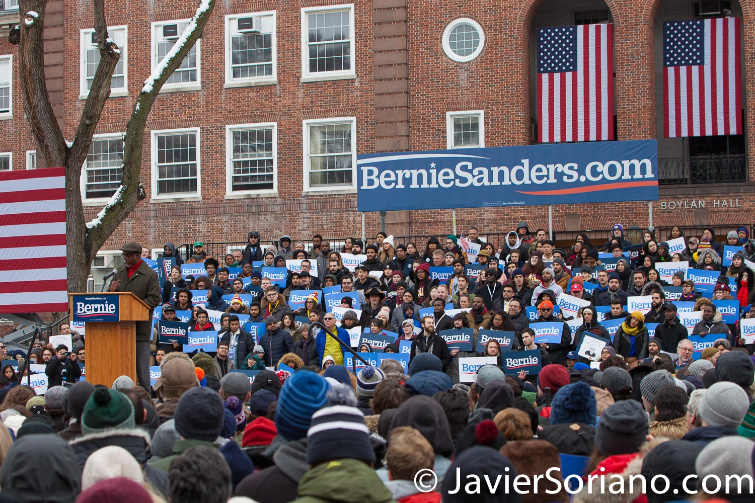 Saturday, March 2, 2019. Brooklyn College. Brooklyn, New York City. South Carolina Representative Terry Alexander speaks to the more than 10 thousand supporters of U.S. Senator and presidential candidate Bernie Sanders. This was the first event of his 2020 presidential campaign. Although it was cold, people were happy to be there. Photo by Javier Soriano/www.JavierSoriano.com