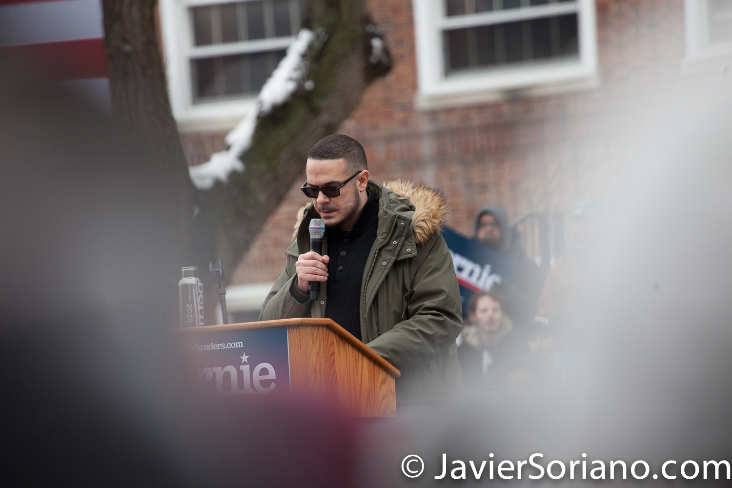 Saturday, March 2, 2019. Brooklyn College. Brooklyn, New York City. Journalist and activist Shaun King speaks to the more than 10 thousand supporters of U.S. Senator and presidential candidate Bernie Sanders. This was the first event of his 2020 presidential campaign. And although it was very cold, people were happy to be there at Brooklyn College. Photo by Javier Soriano/www.JavierSoriano.com