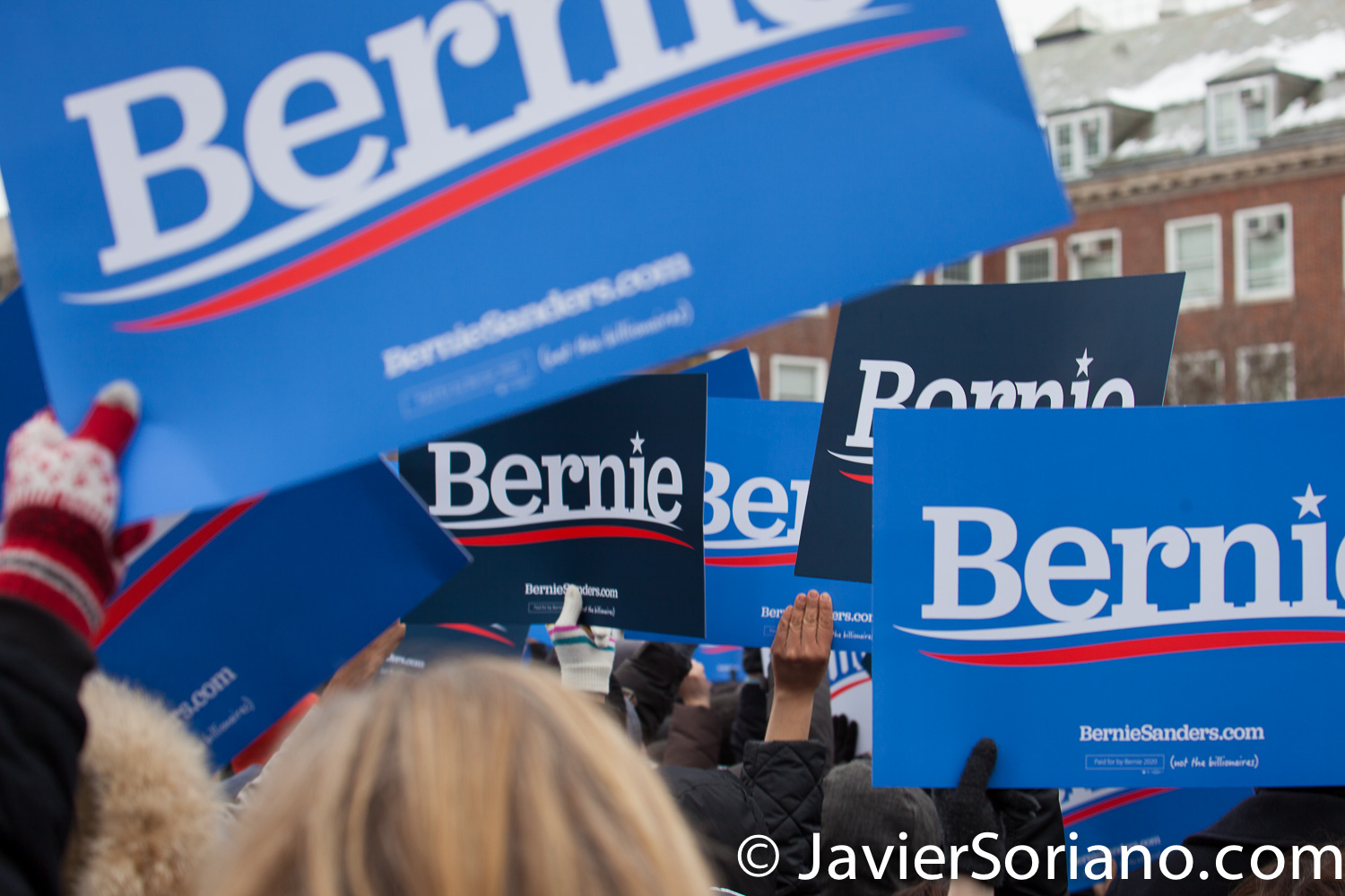 Saturday, March 2, 2019. Brooklyn College. Brooklyn, New York City. Supporters listening to U.S. Senator and presidential candidate Bernie Sanders. This is the first event of his 2020 presidential campaign. Photo by Javier Soriano/www.JavierSoriano.com