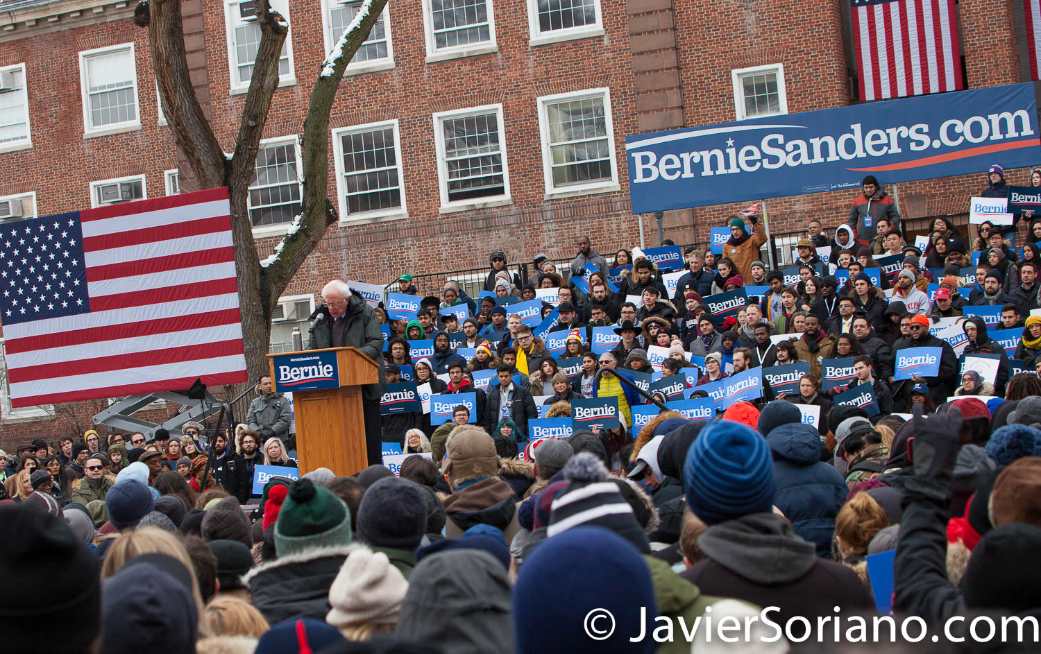 Saturday, March 2, 2019. Brooklyn College. Brooklyn, New York City. U.S. Senator and presidential candidate Bernie Sanders speaks to the more than 10 thousand people at Brooklyn College. This was the first event of his 2020 presidential campaign. And although it was very cold, people were happy to be there. It was a very special moment in the history of our country. Photo by Javier Soriano/www.JavierSoriano.com