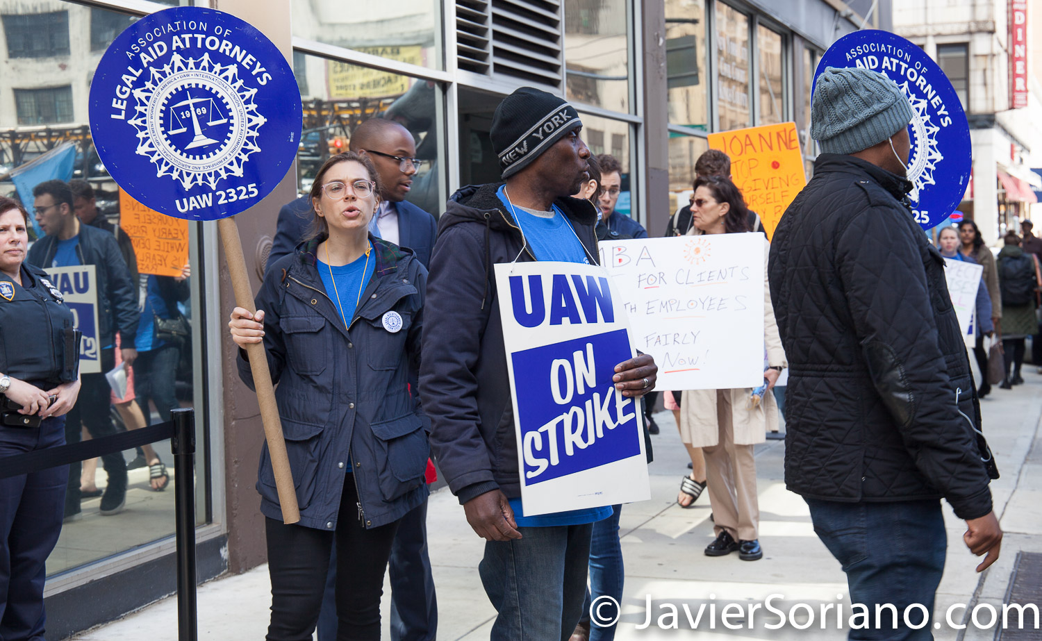 Monday, April 15, 2019. Brooklyn, New York City. - CAMBA workers outside the Kings County Civil Court. Workers are on strike and they are here because they have offices inside the court. Photo by Javier Soriano/www.JavierSoriano.com