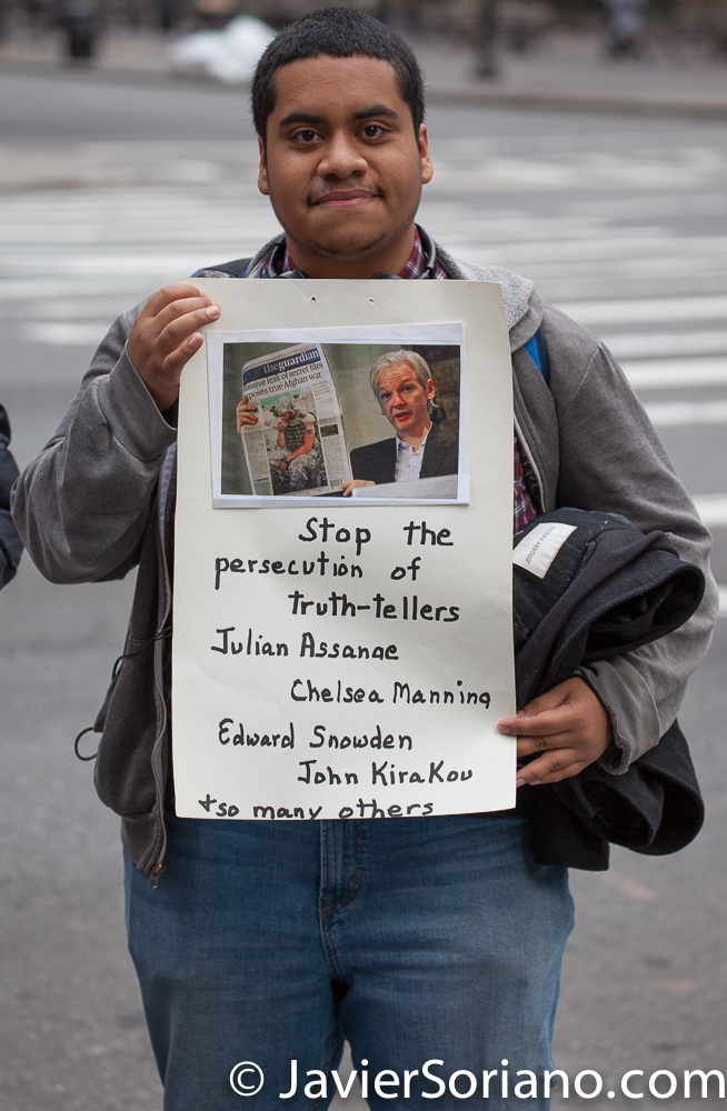 Thursday, April 11, 2019. New York City - A group of people gathered in front of the British Consulate General New York (1 Dag Hammarskjold Plaza/885 Second Avenue) in support of Julian Assange. Assange was arrested today by the London police. Photo by Javier Soriano/www.JavierSoriano.com