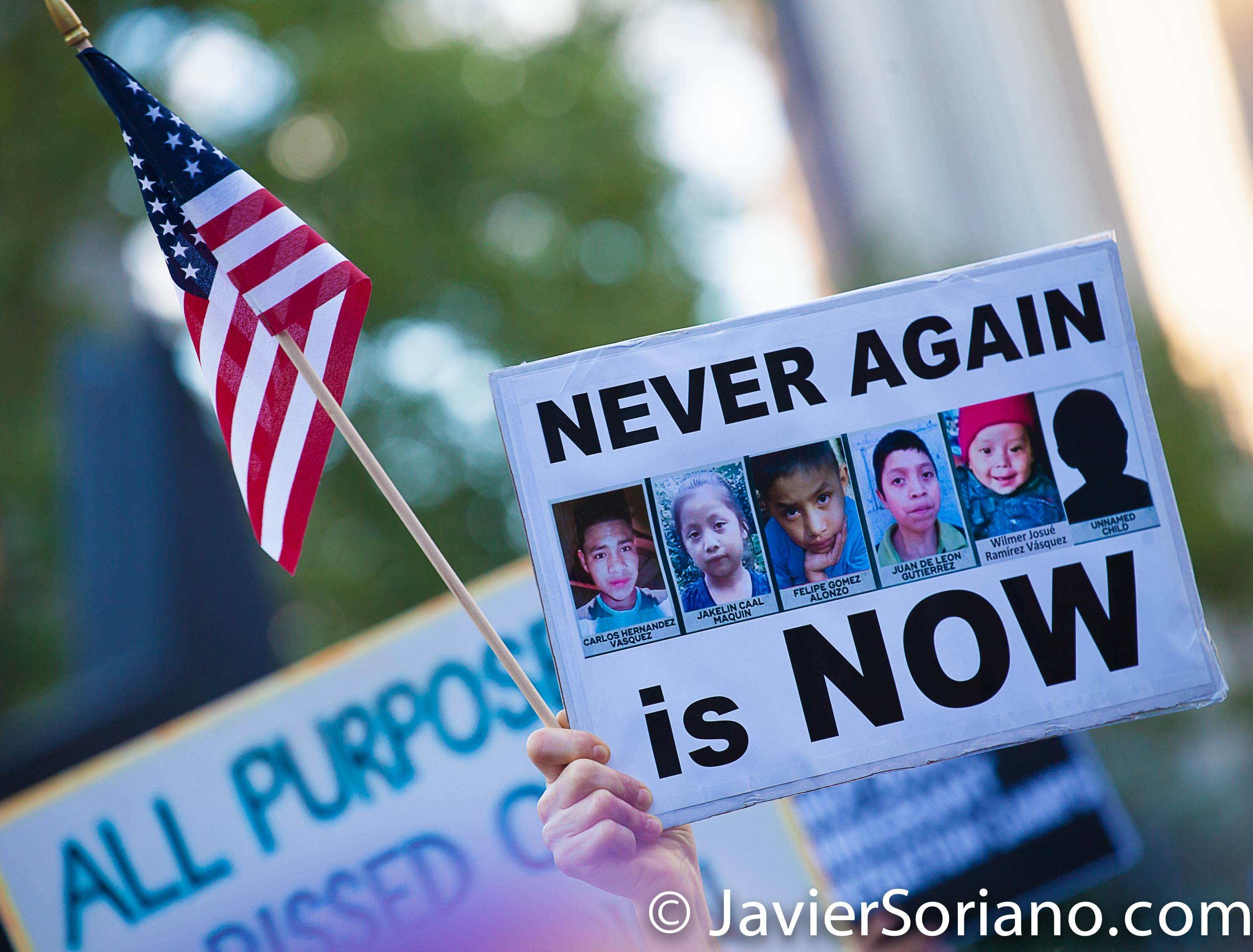 New York City – People gathered at Foley Square Park in Manhattan on Friday, July 12, 2019, to demand action from Congress to end concentration camps in the United States of America and impeach President Donald Trump. Photo by Javier Soriano/www.JavierSoriano.com