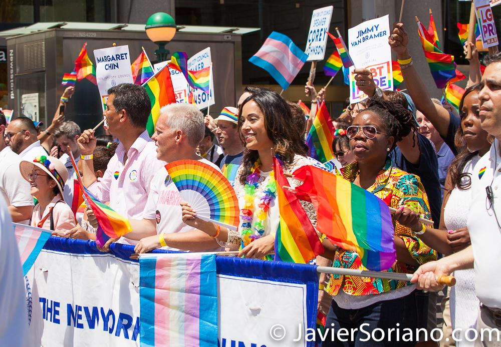 La Marcha del Orgullo LGBTQ+ en la ciudad de Nueva York se realizó el domingo, 30 de junio del 2019. La Marcha del Orgullo de la ciudad de Nueva York es la celebración de la comunidad LGBTQ más grande del mundo. Miles de personas marcharon y miles de personas vinieron a ver la marcha. El 50 aniversario de la Rebelión de Stonewall fue el viernes, 28 de junio del 2019. Este año, por primera vez, WorldPride (el Orgullo Mundial) se llevó a cabo en los Estados Unidos de América. Foto por Javier Soriano/www.JavierSoriano.com