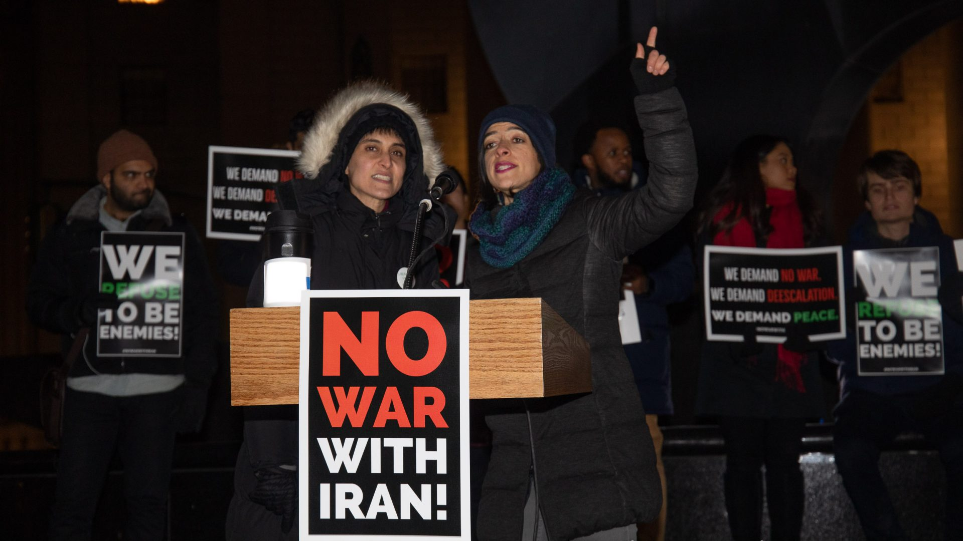 Foley Square Park. Manhattan, New York City. Thursday, January 9, 2020 - People gathered in Foley Square to tell Donald Trump: No War With Iran. We choose peace with Iran and other countries! Photo by Javier Soriano/www.JavierSoriano.com