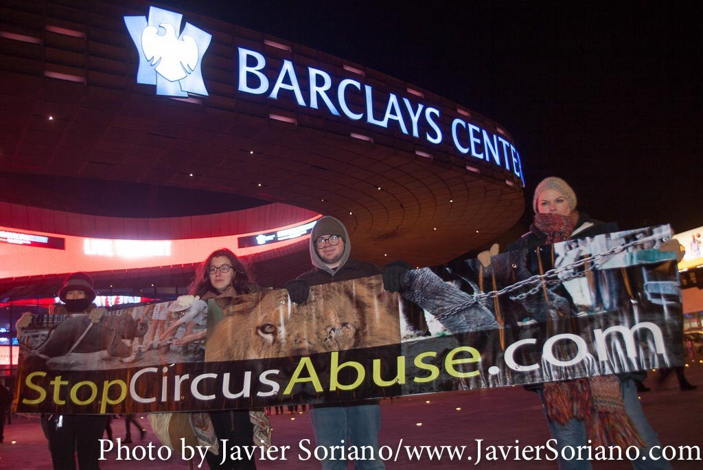 2/19/2015 NYC – Animal-rights activists at the Barclays Center in Brooklyn, protest against the Ringling Bros and Barnum and Bailey Circus for the use and abuse of animals. Photo by Javier Soriano/http://www.JavierSoriano.com/