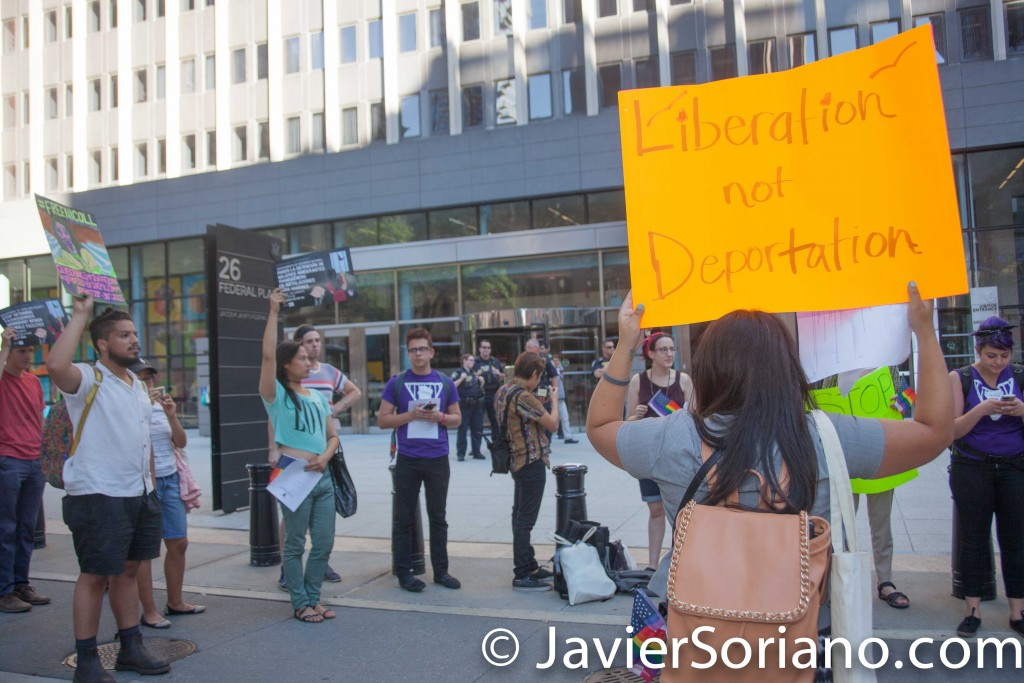 #qi2: 2015 NYC - Queering Immigration Conference.  Rally in front of the 26 Federal Plaza building/ USCIS Local Office. Photo by Javier Soriano/http://www.JavierSoriano.com/