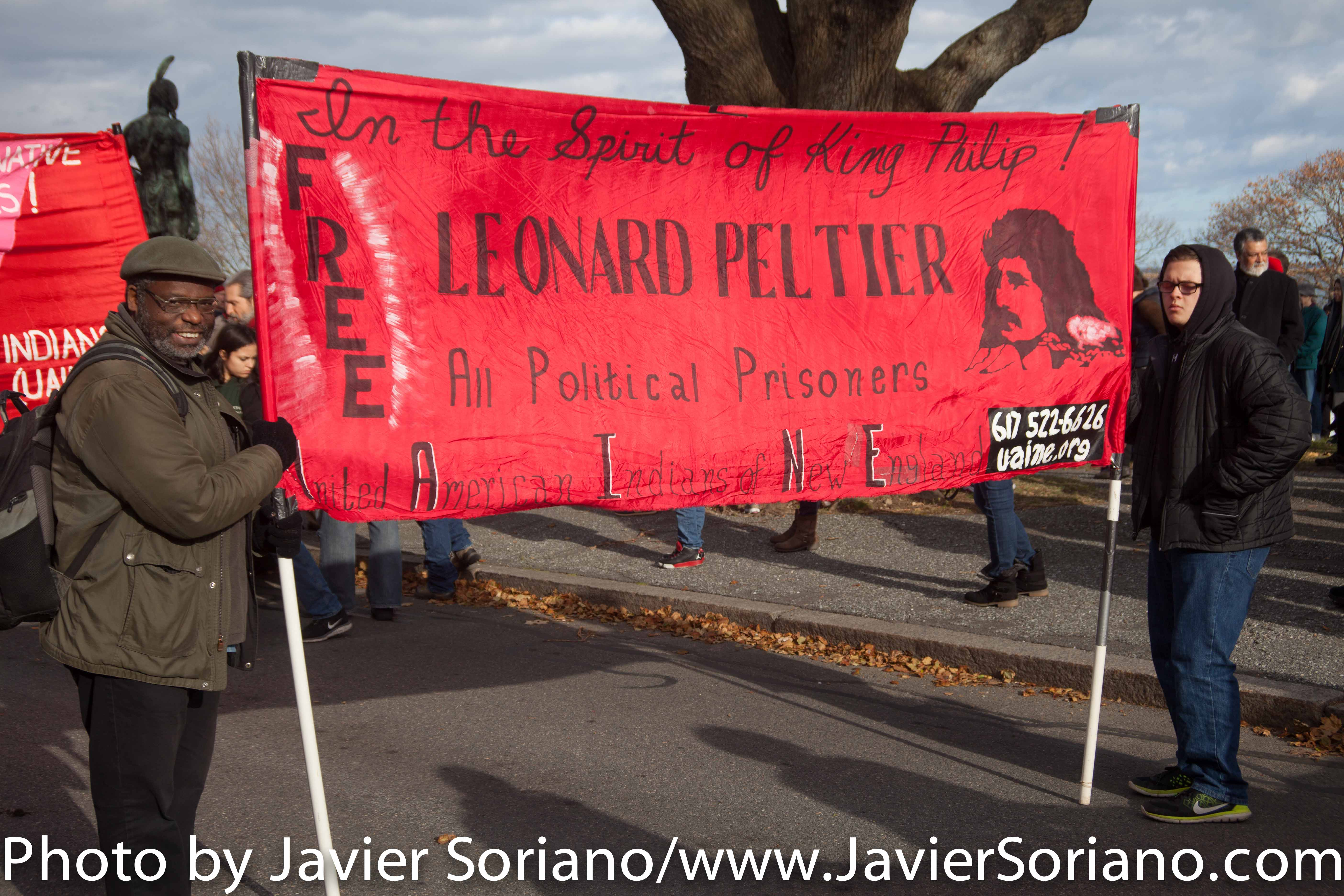 11/27/2014. Plymouth Rock, Massachusetts – 45th National Day Of Mourning dedicated to Leonard Peltier. Photo by Javier Soriano/www.JavierSoriano.com