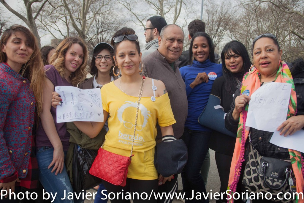 March 31, 2016. Bronx, New York City - Bernie Sanders supporters.  Photo by Javier Soriano/http://www.JavierSoriano.com/