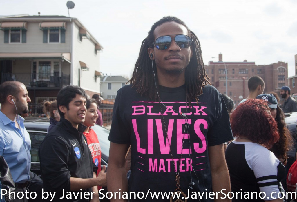 March 31, 2016. Bronx, New York City - Black Lives Matter activist support Bernie Sanders for president.  Photo by Javier Soriano/http://www.JavierSoriano.com/