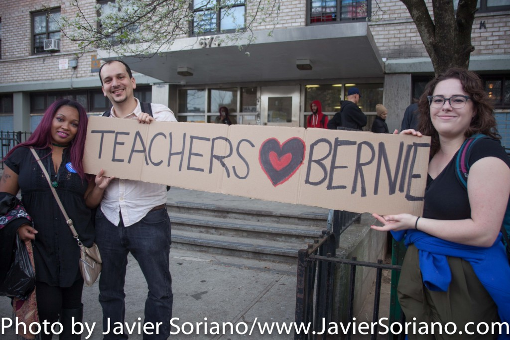 March 31, 2016. Bronx, New York City – (Teachers LOVE Bernie) Supporters of Bernie Sanders for president of the United States of America. Photo by Javier Soriano/http://www.JavierSoriano.com/