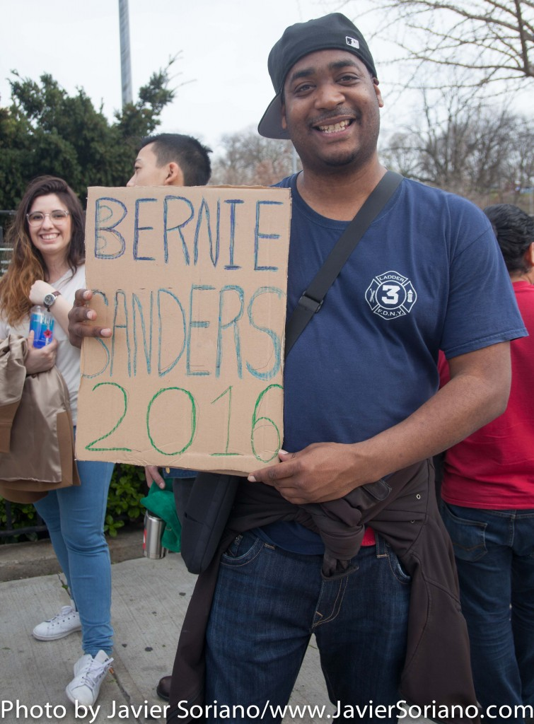 March 31, 2016. Bronx, New York City – Veteran supports Bernie Sanders for president. Photo by Javier Soriano/http://www.JavierSoriano.com/