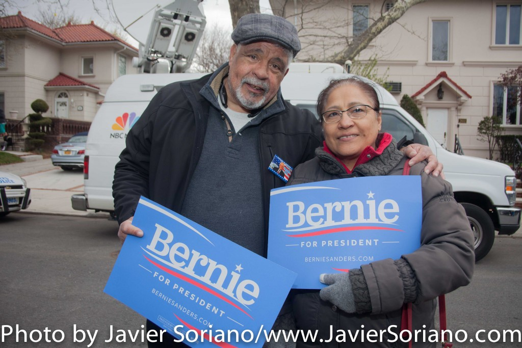 Friday, April 8, 2016. Midwood. Brooklyn, New York City - Supporters of Senator Bernie Sanders for president.  Photo by Javier Soriano/http://www.JavierSoriano.com/