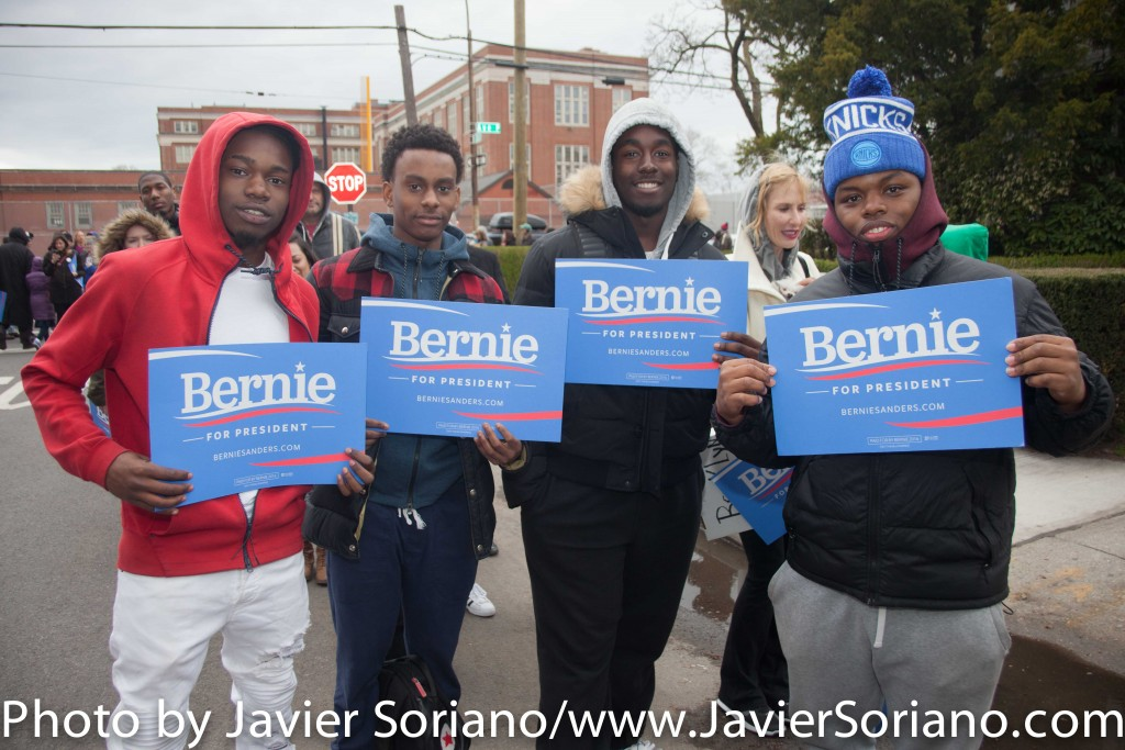 Friday, April 8, 2016. Midwood. Brooklyn, New York City – Young Black men supporters of Senator Bernie Sanders for president. Photo by Javier Soriano/http://www.JavierSoriano.com/