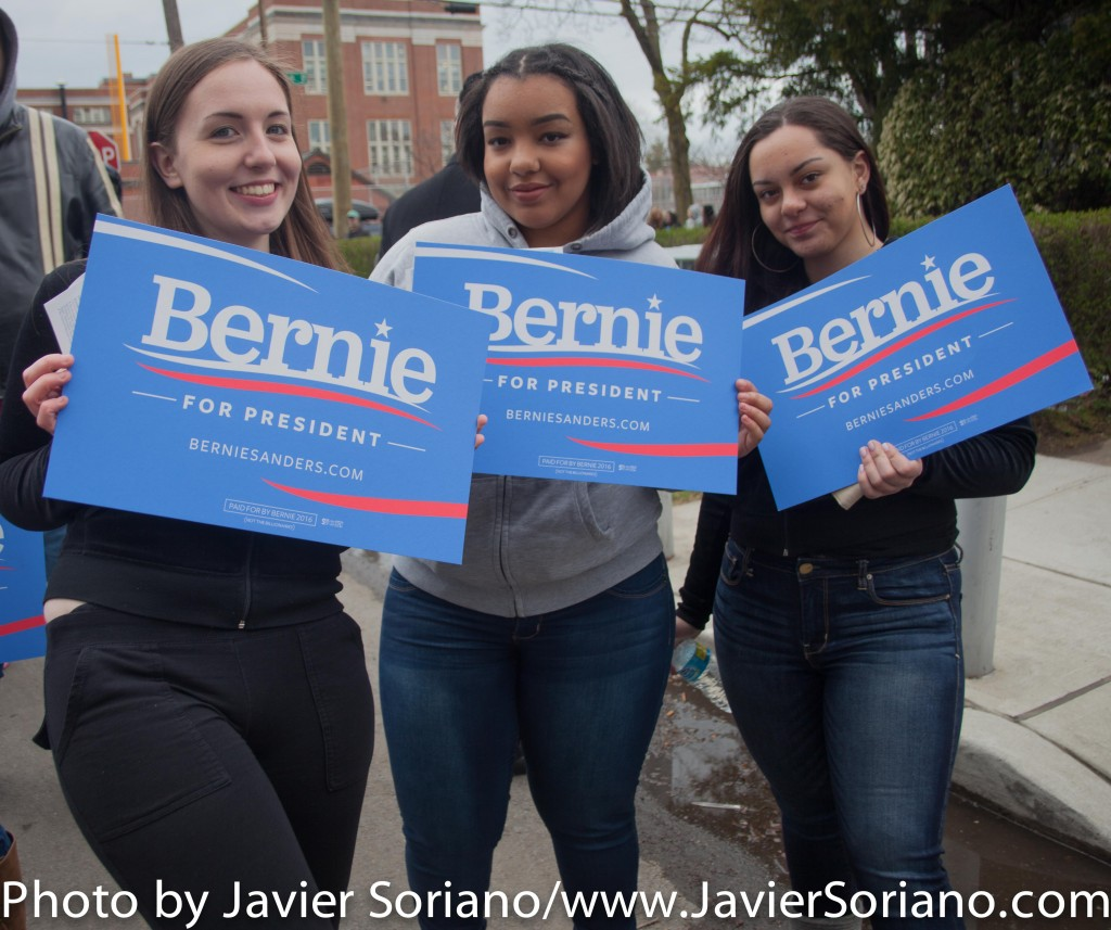Friday, April 8, 2016. Midwood. Brooklyn, New York City – Young Black women supporters of Senator Bernie Sanders for president. Photo by Javier Soriano/http://www.JavierSoriano.com/