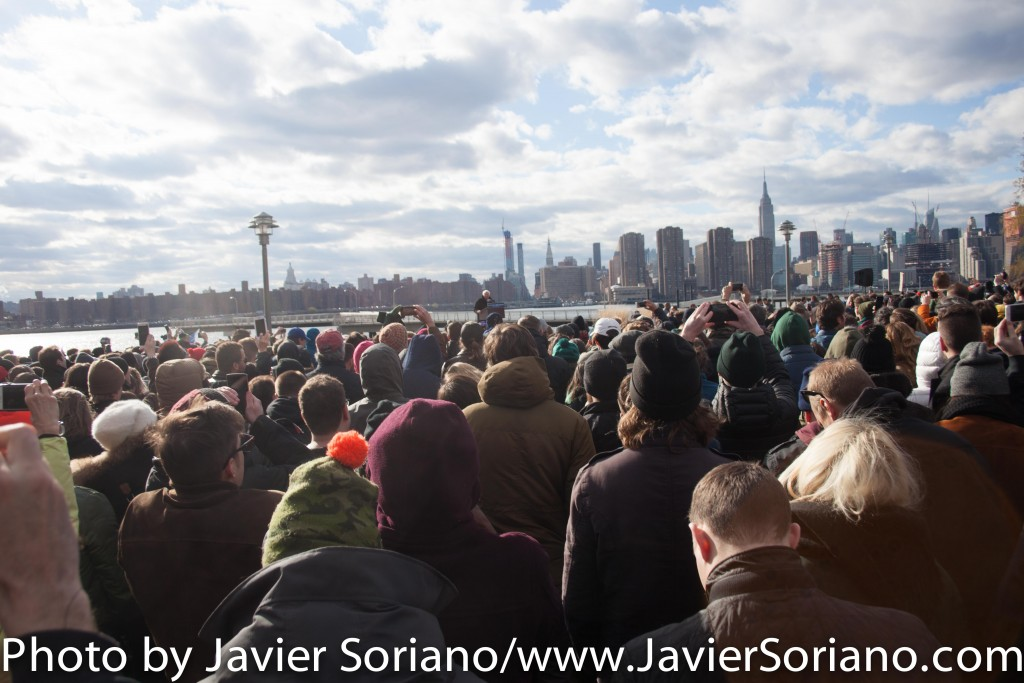 Friday, April 8, 2016. Greenpoint. Brooklyn, NYC – Supporters of Bernie Sanders at a rally with Senator Sanders. Photo by Javier Soriano/http://www.JavierSoriano.com/