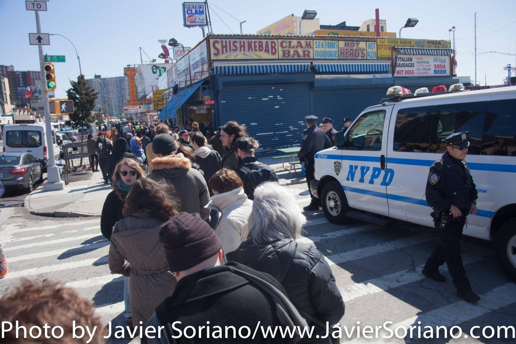 Sunday, April 10, 2016. Coney Island. Brooklyn, NYC – Supporters of Bernie Sanders waiting in line. They are attending a rally with Senator Sanders. Photo by Javier Soriano/http://www.JavierSoriano.com/