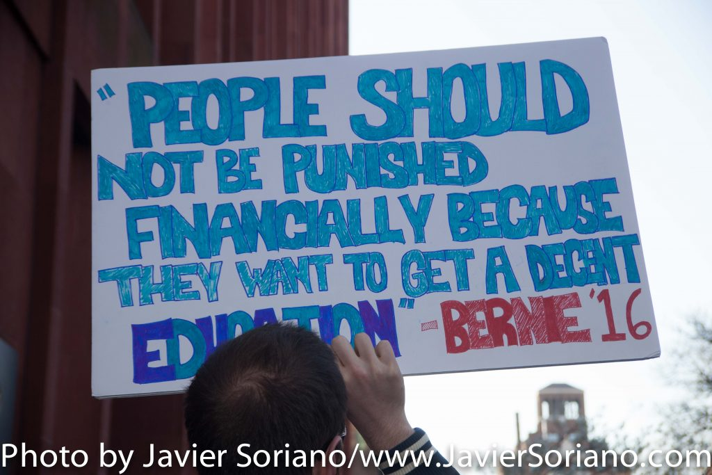 Wednesday, April 13, 2016. Washington Square Park. Manhattan, NYC - Supporter of Bernie Sanders.